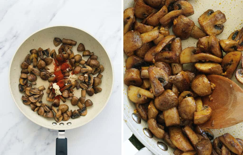 Top view of a pan full of mushrooms showing how to add toss them with garlic and parprika.