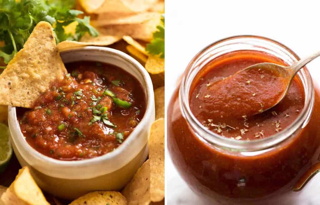 Two jars full of tomato salsa.