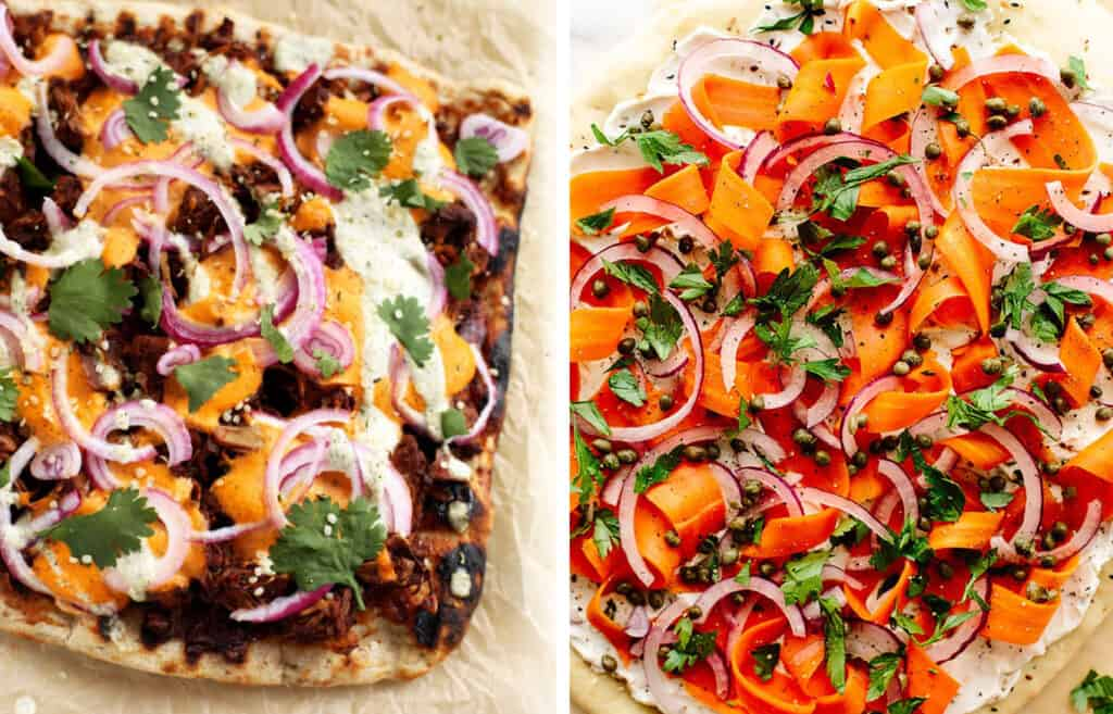 Top view of two vegan pizza recipes packed with vegetables.