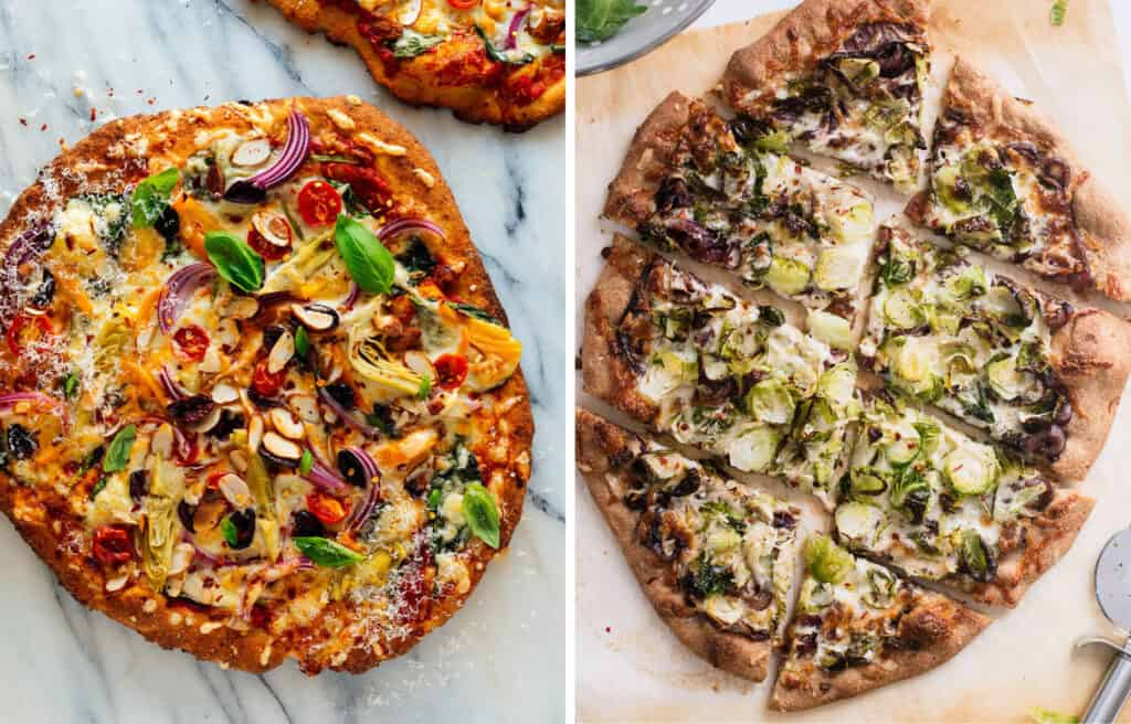 Top view of two crusty veggie pizza recipes.